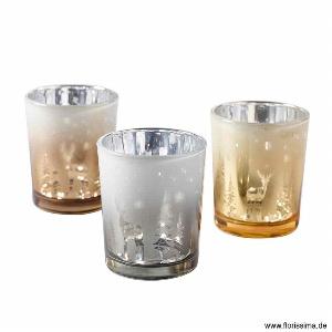 GLAS TEELICHT BEPERLT H 6,5CM