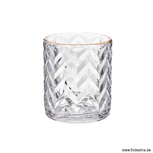 GLAS TEELICHT GOLDRAND Ø 8,5CM