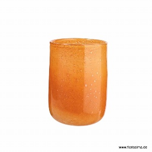 GLAS VASE RUND 16X23CM ORANGE