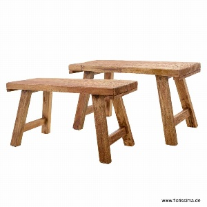 HOLZ BANK 76/110 CM SET2 NATUR
