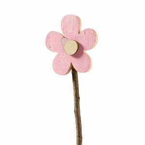 HOLZ BLÜTE AM STAB H 15CM ROSA