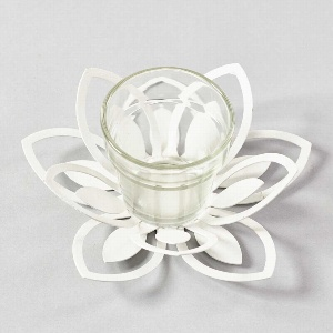 METALL LOTUS SCHALE M.GLAS