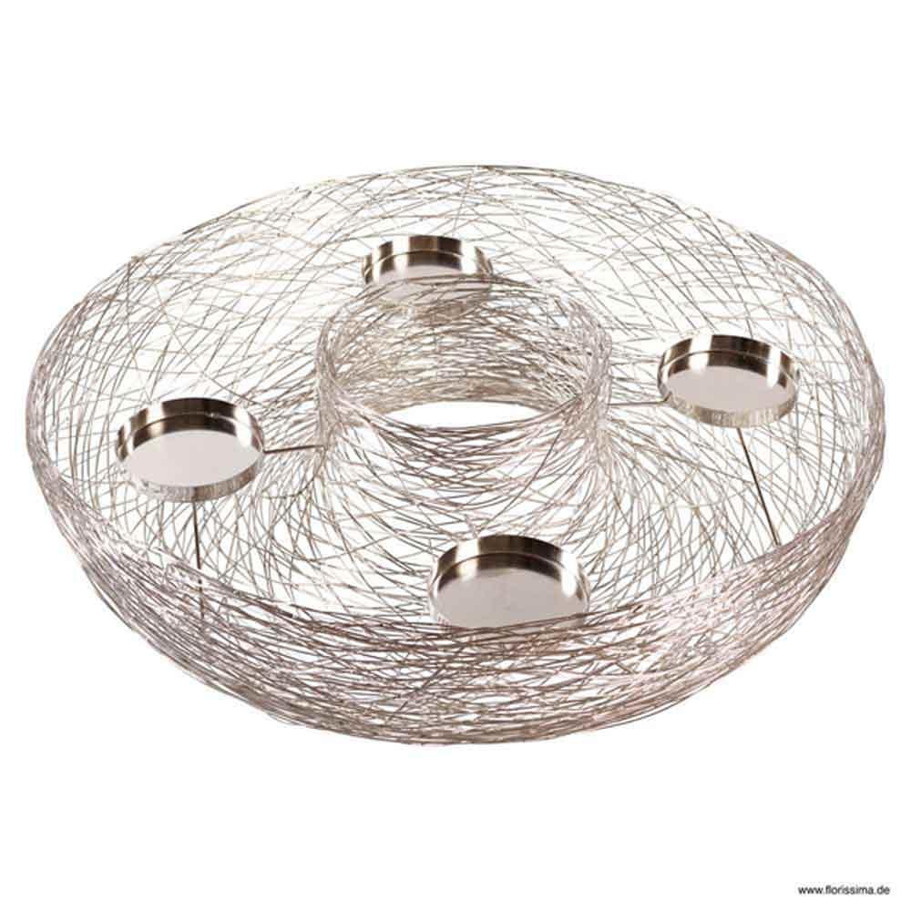 metall draht adventskranz 78cm silber. Black Bedroom Furniture Sets. Home Design Ideas