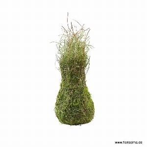 GRAS VASE MIT REBE Ø 20CM GRÜN