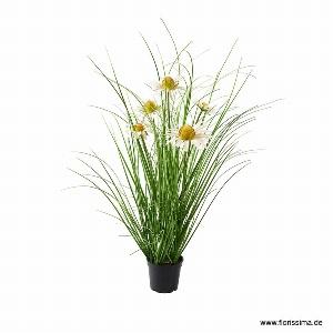 KUNST DAISY GRAS IM TOPF