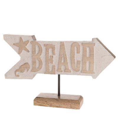 "HOLZ SCHILD ""BEACH"" L 30CM"