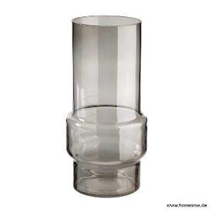 GLAS VASE RUND 12X25CM GRAU