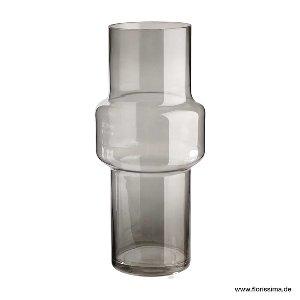 GLAS VASE RUND 12X30CM GRAU