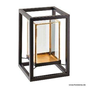 METALL/GLAS WINDLICHT 15X23CM